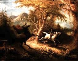 Un tableau de John Quidor représentant le Cavalier sans tête Américain.
